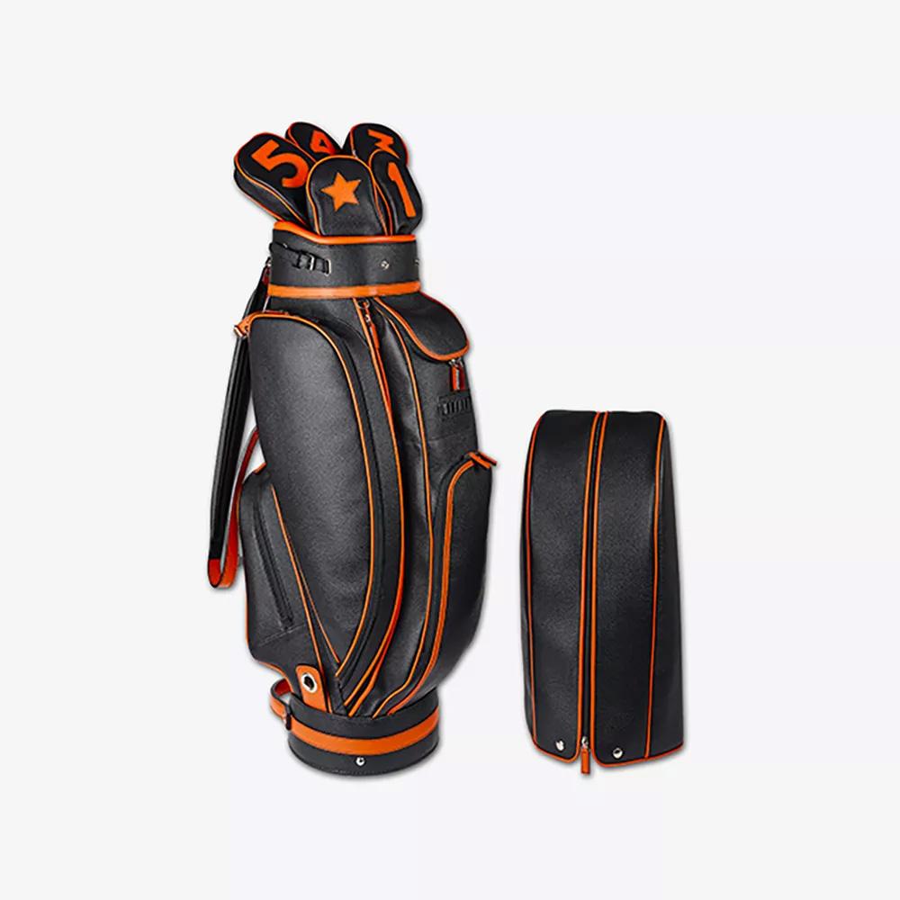 sacca da golf pelle vitello nera